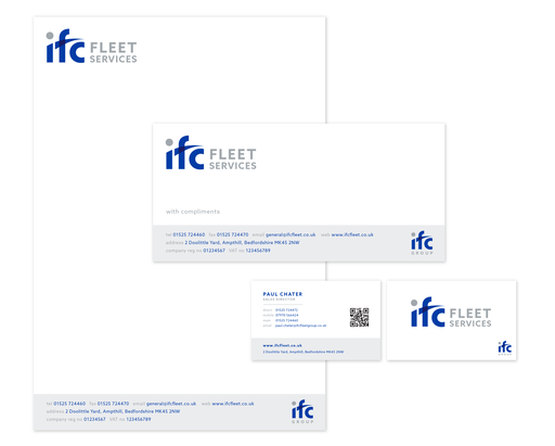 IFC Stationery, business card, letterhead, comp slip design